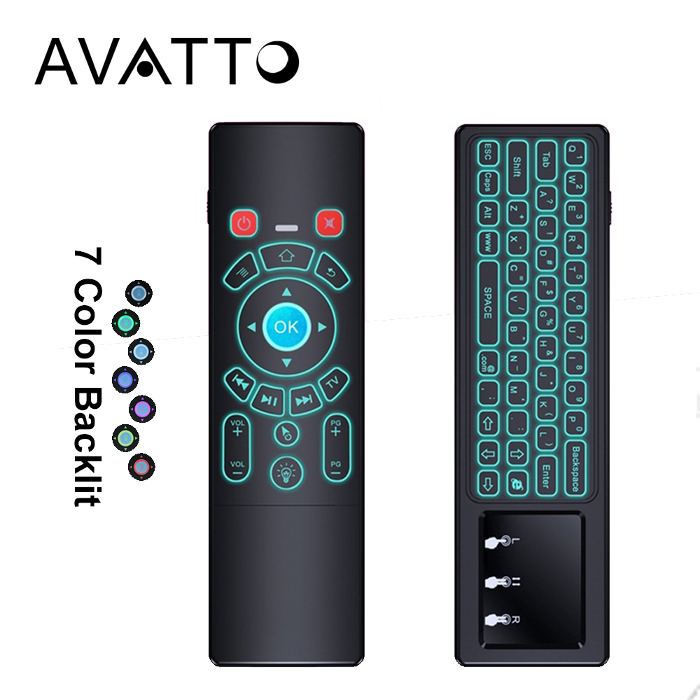 [AVATTO] T6 IR Learning 7 Colors Backlit Touchpad Air Mouse with 2.4G Wireless Mini Keyboard for Smart TV Android Box Mini PC h1 2 4ghz 6 axis fly air mouse wireless keyboard full touchpad remote control ir learning for smart tv android tv box laptop pc