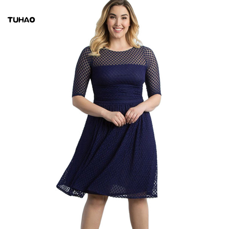 TUHAO New autumn Elegant plus Size 3XL-8XL Lace Dresses 2017 Dot Lace  Sleeved office fb8f80f12fdf