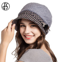 FS Lady Hat Autumn Winter Elegant Wool Fedora Hats Gray Orange Camel Warm Women Felt Floppy Foldable Cap