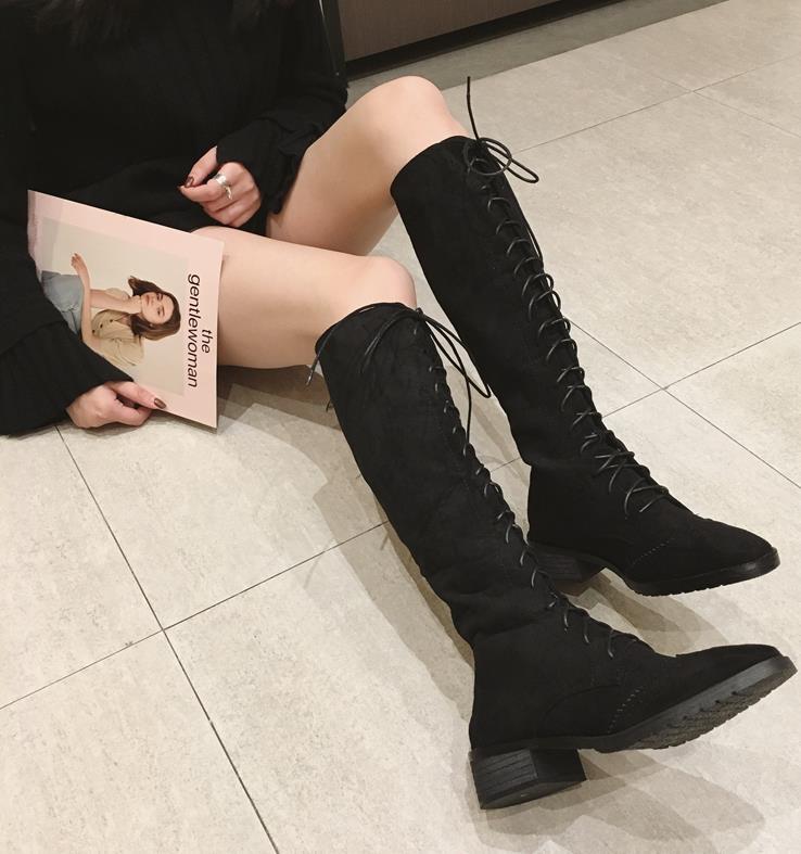 Nuevo De Mujeres amarillo Arranque Tie Negro Otoño Chica Moda Británico Botas Retrospectiva Las Invierno Tacón Martin Estilo Zapatos Grueso 6HaFqavw