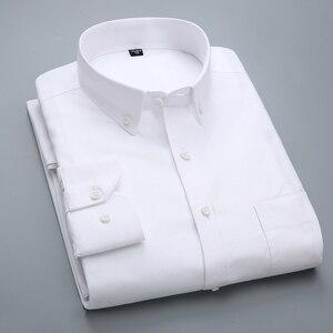 Image 3 - الرجال طويلة الأكمام منقوشة مخطط أكسفورد قمصان واحدة التصحيح جيب قسط الجودة القياسية صالح زر أسفل القطن قميص غير رسمي