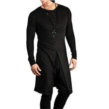 Newest men nightclub DJ singer punk rock long sleeve t shirt stage costume men harajuku hiphop long tops street style tee shirts