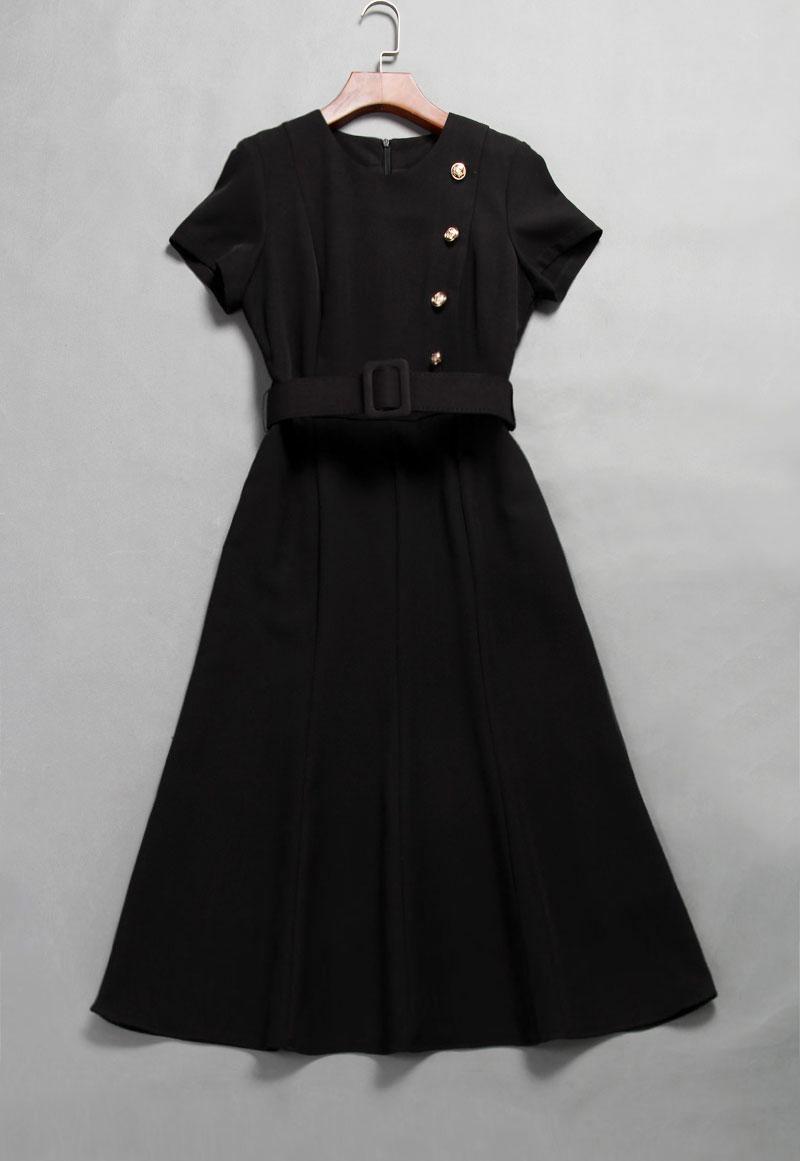 Image 2 - Princess Kate Middleton Dress 2019 Woman dress O Neck Short  Sleeve Buttons Mermaid Elegant Dresses Work Wear Clothes   NP0299CKDresses