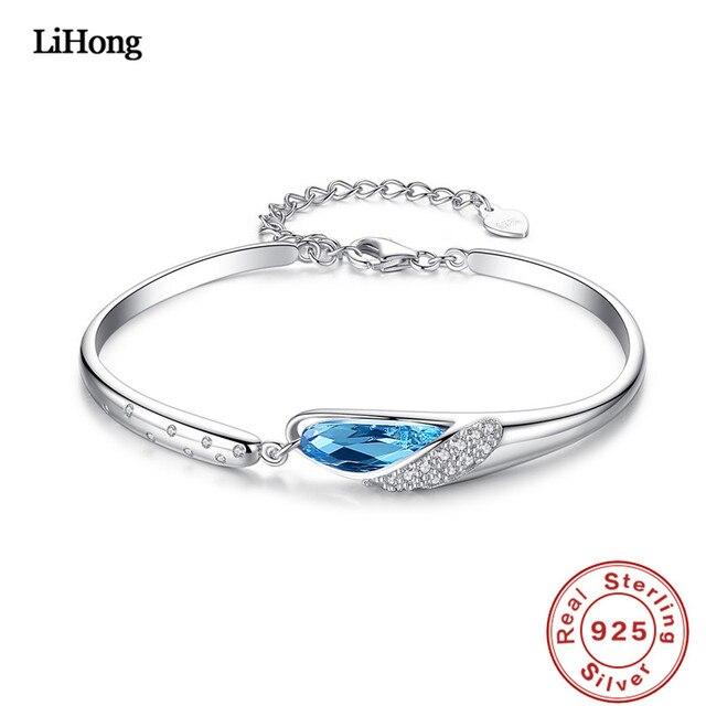 924c3fa2a71 Real 925 Sterling Silver Bracelet Austrian Light Blue Crystal Silver  Bracelet Woman Fine Jewelry
