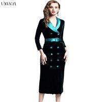 2019 Europe Black Green Velvet Blazer Women Slim Double Breasted Button Sashes Long Office Velvet Blazer Dress Jacket Lady Cloth