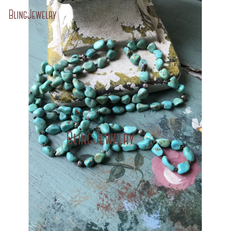 Southwest Boho Turquoises Gem stone Blue Rustic Glam Hand Knot Thai Silver Beads Necklace NM15543