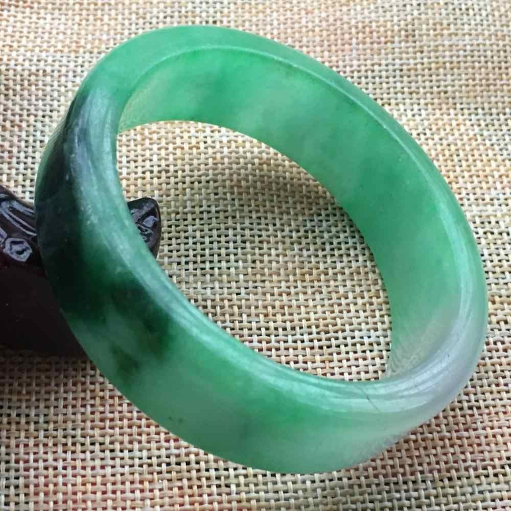 57มิลลิเมตรธรรมชาติลาเวนเดอร์สีเขียวหยกJadeiteกำไลสร้อยข้อมือที่ทำด้วยมือF44
