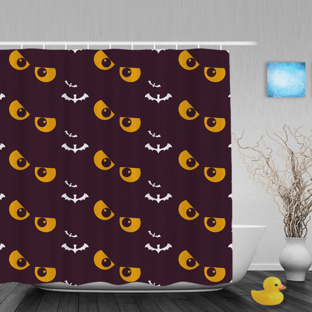 Halloween Bat Funny Eyes Decor Bathroom Shower Curtain Happy Halloween Shower Curtains Waterproof Polyester Fabric With Hooks