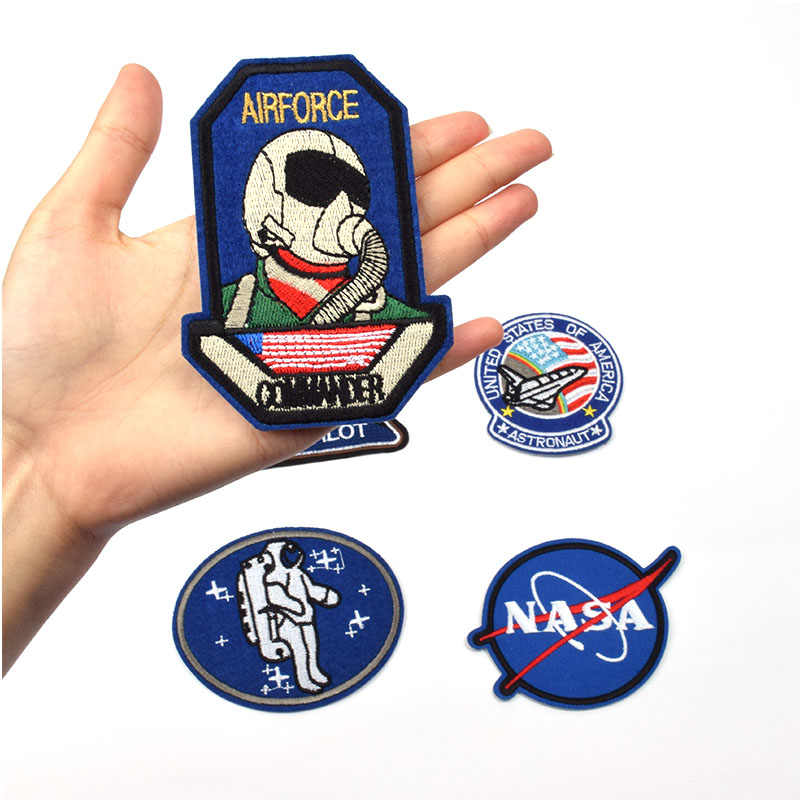 5Pcs/Set Space Rocket Set Embroidered Iron On Patches For Clothing Jeans Jacket T-shirt Clothes Decoration Assorted Size Patches