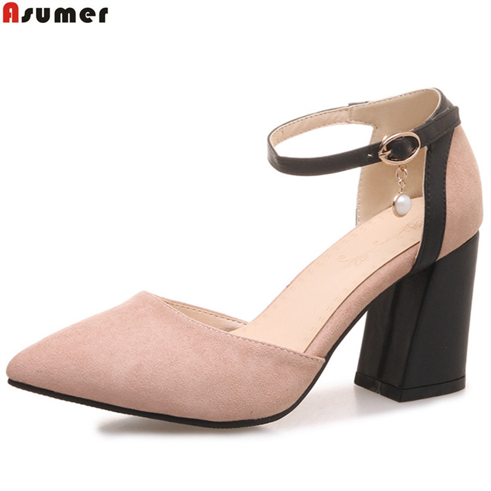 ASUMER red black fashion spring autumn ladies pumps pointed toe elegant wedding shoes women flock high heels shoes big size asumer black beige pointed toe buckle square heel spring autumn shoes woman pumps elegant ladies high heels shoes size 33 46
