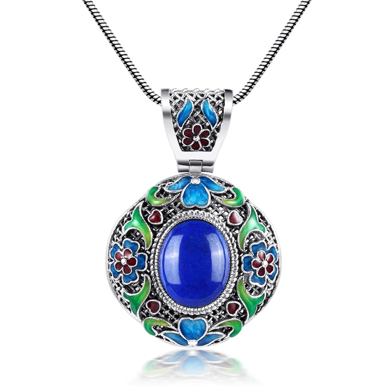 925 intime silver natural yellow sweater chain stone Lapis Pendant Cloisonne Enamel Pendant 925 silver green yellow chalcedony agate pendant buckle female sweater chain large round jade pendant