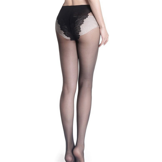 15 D Thin See Through Oil Shiny High Waist Tights Women Stretch French Panty Solid Color 2