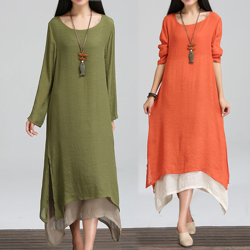 0795067bb9 Renaissance vintage Women s Double Layer Cotton Linen Maxi Dress Side  Split-in Dresses from Women s Clothing on Aliexpress.com