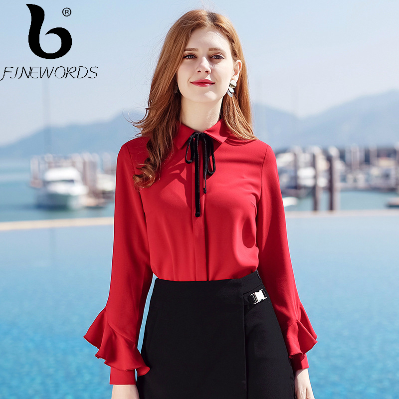 FINEWORDS 2018 Spring blusas Vintage Causal Red Chiffon Blouse Women Elegant Bowtie Tops Long Sleeve Business Plus Size Shirt