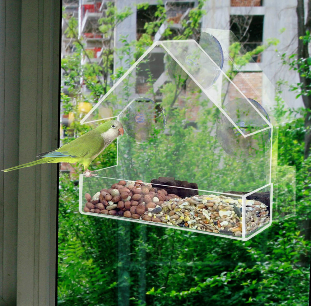 Window bird feeders CLEAR GLASS WINDOW VIEWING BIRD FEEDER HOTEL TABLE SEED PEANUT HANGING SUCTION brand new smt yamaha feeder ft 8 2mm feeder used in pick and place machine