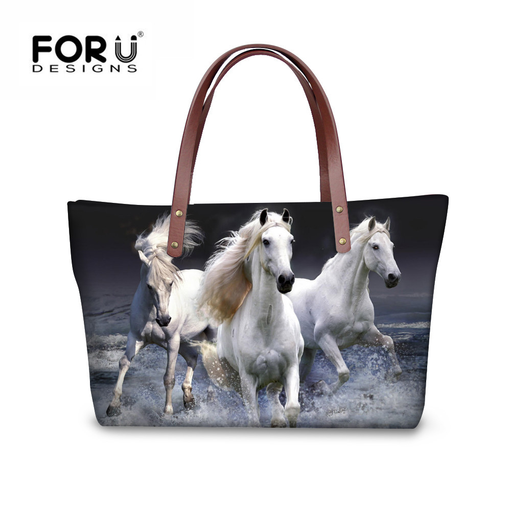 FORUDESIGNS Horse Women Shoulder Bags Big Handbags Fashion Tote For Girls Famous Brand Women's Bag Female bolsa feminina female aosbos fashion portable insulated canvas lunch bag thermal food picnic lunch bags for women kids men cooler lunch box bag tote