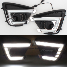 DRL Day Light For MAZDA CX-5 2012 - 2016 Turn Signal and Dimming Style 12V CAR LED DRL Daytime Running Light With Fog Lamp Hole gloss style e4 12v led car drl daytime running lights fog lamp with turn off and dimming relay for ford focus 3 2012 2013 2014