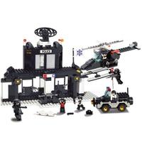 S Model B1500 385pcs Educational DIY Toys for children Sluban Building police office self locking bricks Compatible with Lego