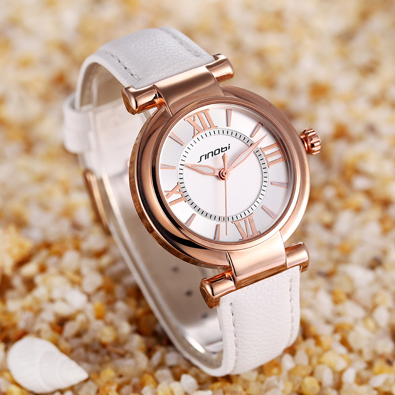 SINOBI Casual Leather Womens Watches Top Brand Luxury Lady Clock Women Bracelet Quartz Dress Wrist Watch Wristwatch Reloj Mujer
