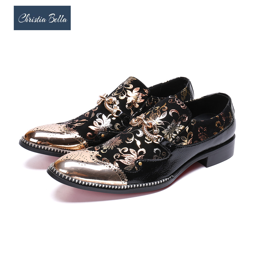 купить Christia Bella Luxury Gold Floral Men Dress Shoes Wedding Party Men Formal Shoes Bullock Business Genuine Leather Shoes Big Size по цене 4651.03 рублей