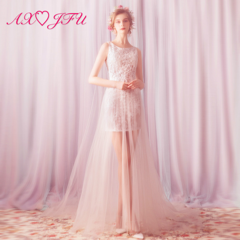 AXJFU Princess o halsen illusion bröllopsklänning vintage strand ärmlös scen bröllopsklänning blomma spets bröllopsklänning 907t