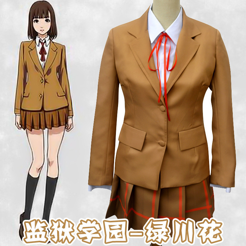 Prison School Midorikawa Hana Kurihara Mari Shiraki Meiko Kurihara Chiyo Cosplay Costume Uniform Student Suit Jacket Skirt Set