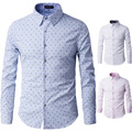2016 Mens Business Shirts Casual Slim Long Sleeve Dresse Shirts Camisa Masculina Shirts Asian Cotton patchwork 66930