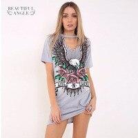 Sexy Women Summer Harajuku T Shirt Short Sleeve Plus Size Dress Shirt Prined Punk Hanging Neck