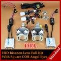 Carro Styling automóveis iluminação COB LED Angel Eyes o Halo DRL faróis HID Bi xenon lente do projetor Full Kit de farol lentes