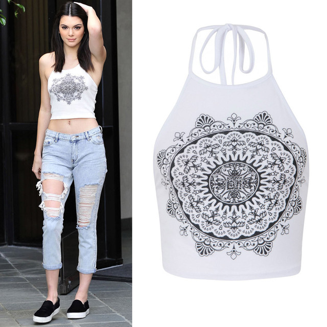 246453584099f4 Womens Mandala Print Sleeveless Halterneck Tank Crop Tops Vest Blouse T- Shirt