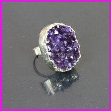 1PC Popular Amethyst Crystal Round Gem Stone Charm Finger Ring Druzy Ring Charm Women Jewelry