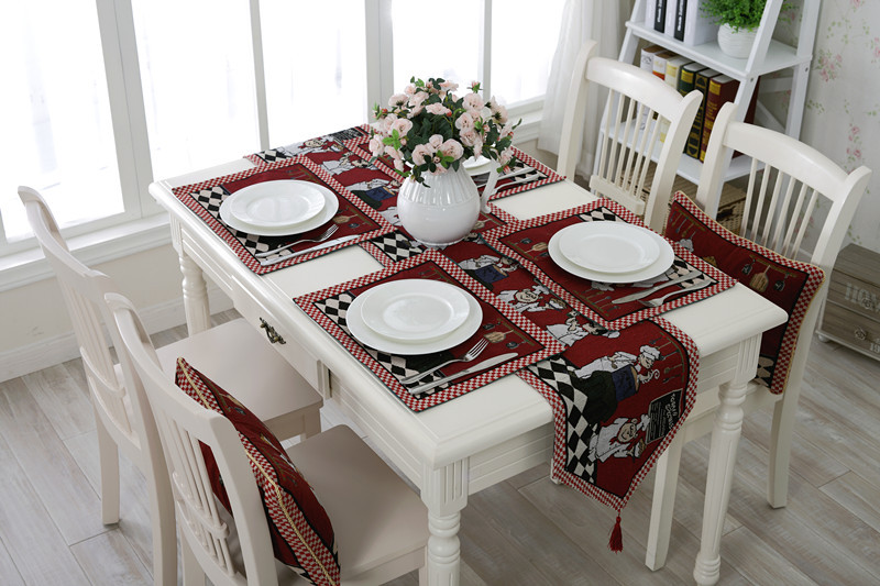 Home soft decoration cooker decor table flag Yarn dyed mat European retro dinning table cover