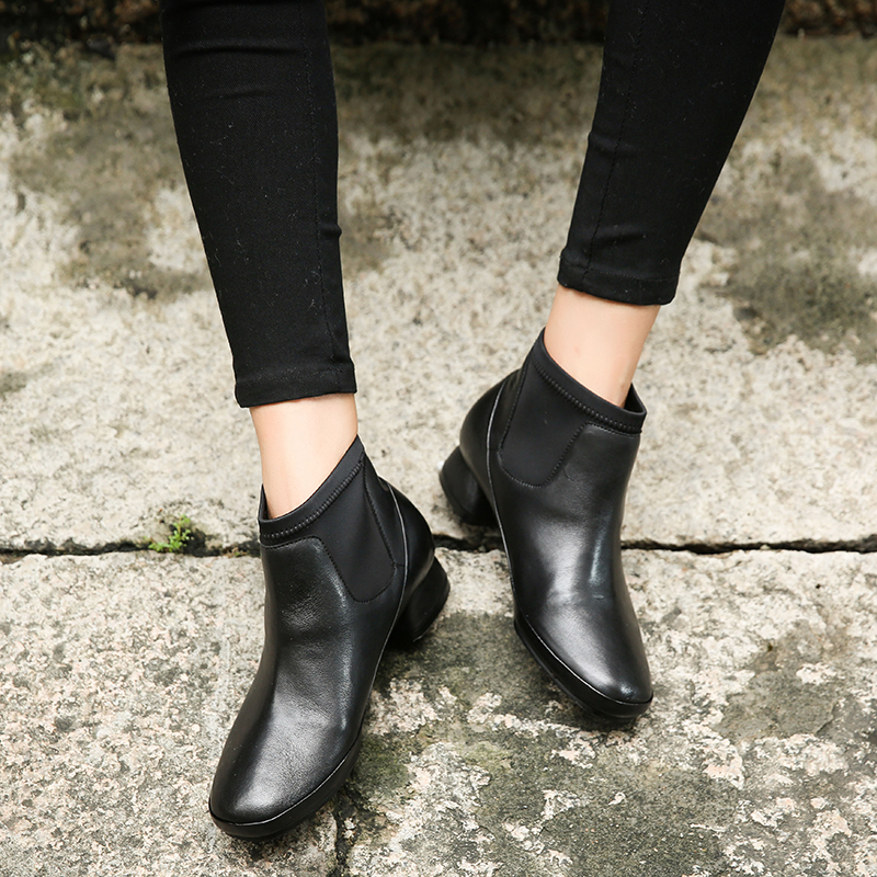 Black Low Heel Boots Shoes Woman Genuine Leather Elastic Band Black Female Booties Comfortable Lady Short Shoes black leather look skater skirt with elastic band