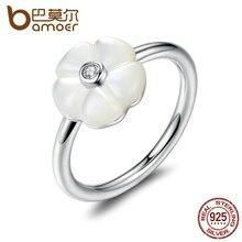 Bamoer 925 blanco luminoso flor de flores, madre-de-perla y Claro CZ Anillos de Dedo de La Joyería Femenina Anillo PA7191