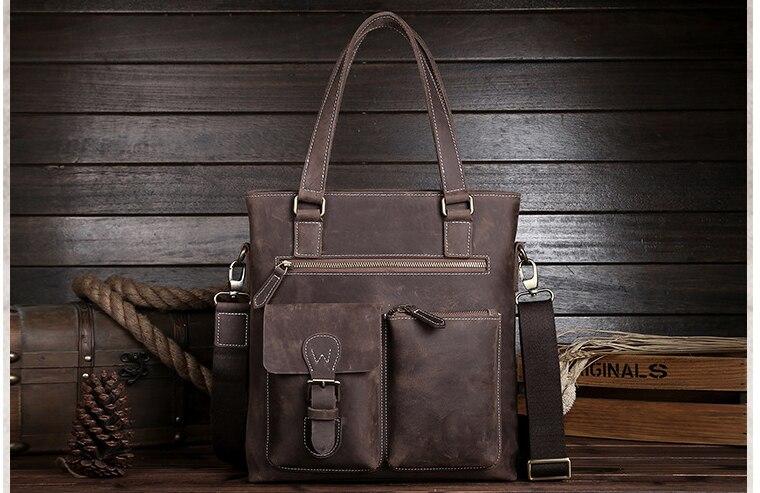 New Men Multi-Function Genuine Leather Briefcases Male Shoulder Cross Body Business Bags Cowhide Messenger Satchels D826