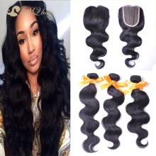 7A Brazilian Body Wave 3 Bundles With Lace Closure Rosa Unprocessed Cheap Virgin Human Hair Weaves With Free Part Lace Closure