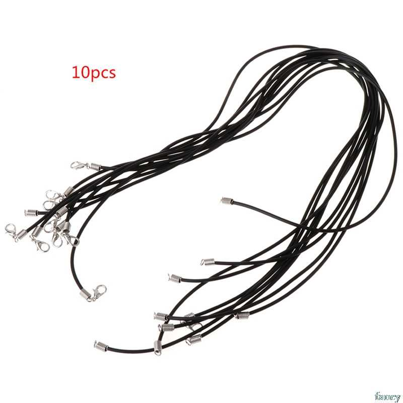 10pcs 10pcs DIY Necklace Rope Cord Rubber Black Jewelry Making With Lobster Clasp Gift Fashion