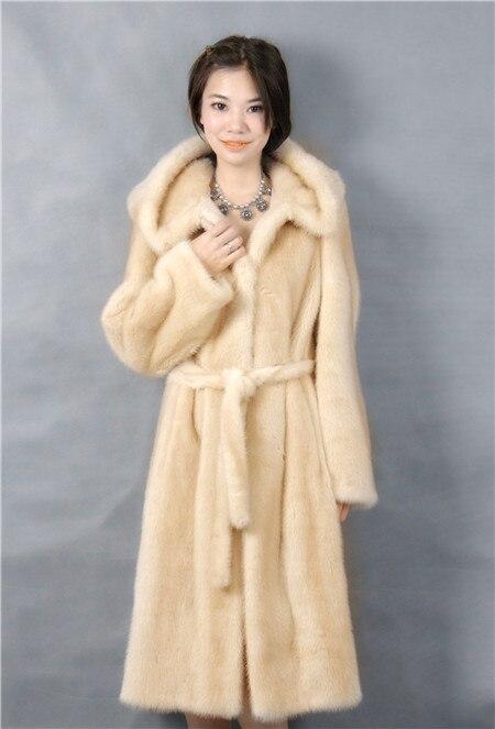 Manteau en fourrure de vison véritable, couleur jaune avec capuche et peau, longueur 105 cm, 2019 hiver femme mode naturakl vraie fourrure de vison