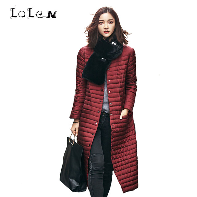 LOLEN Women's Clothing in Autumn and Winter Fashion Coats Long Section of Thin Slim Straight Down Jacket