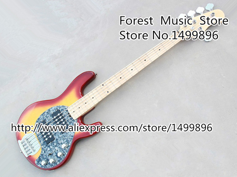 Top Quality Cherry Sunburst 5 String Music Man Electric Bass Guitar Body & Kits China OEM Left Handed Custom Available