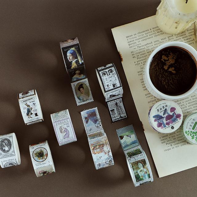 Vintage timbre série décorative ruban adhésif masquage Washi ruban bricolage Scrapbooking autocollant étiquette japonais papeterie