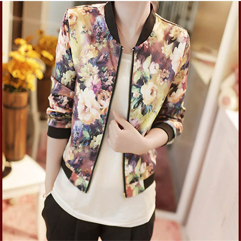 #3055   1PC Women Stand Collar Long Sleeve Zipper Floral Printed Bomber Jacket