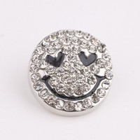PAPAPRESS 1PCS Smiling Face 18mm Snaps Button White Rhinestone Snaps Fit Leather  Bracelet Snap Jewelry Findings