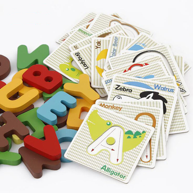 Educational Wooden Puzzle Kids Early Learning Letters Alphabet Cards Wood Puzzle Toys for Children 39 29cm large puzzle wooden toys russian alphabet puzzles toys for children alphabet grasp board kids educational developing toy
