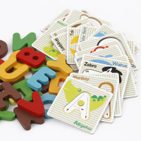 Educational Wooden Puzzle Kids Early Learning Letters Alphabet Cards Wood Puzzle Toys for Children