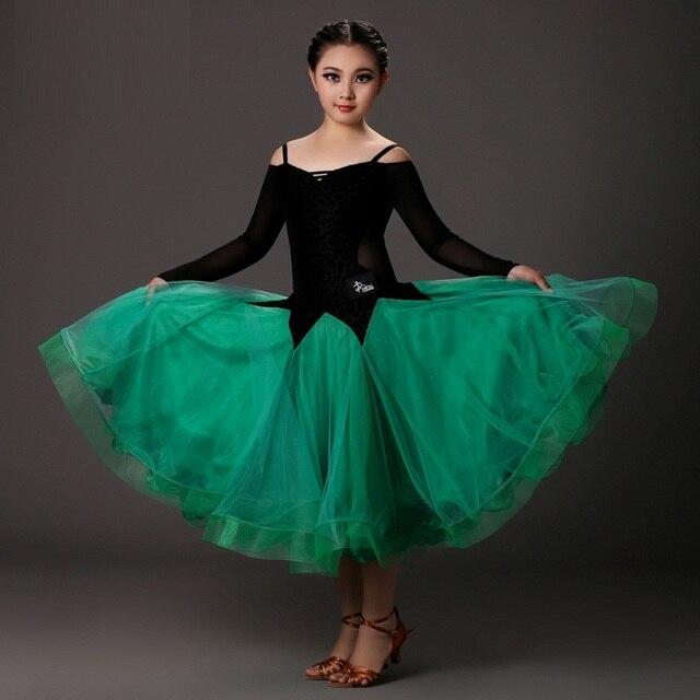 c532bf1a127 Rosa niñas trajes de baile moderno niños vestidos de baile de salón  estándar salón de baile