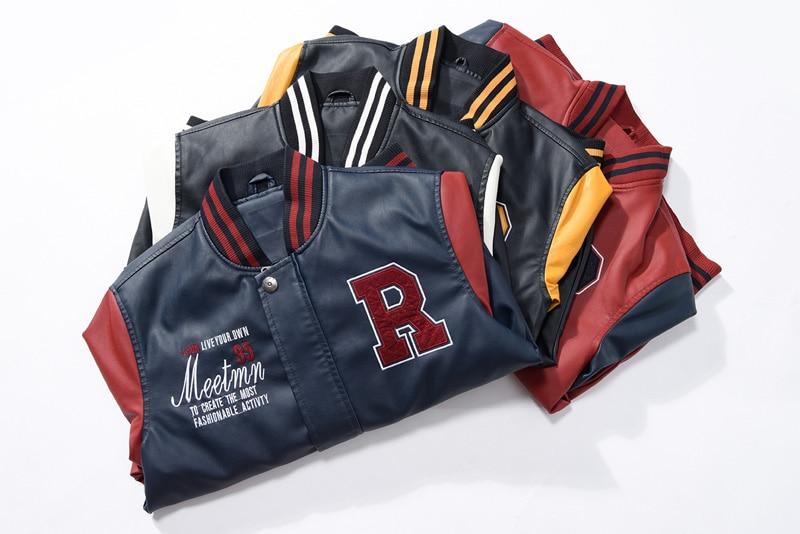 HTB1NoSJwnqWBKNjSZFAq6ynSpXaz AFS JEEP Embroidery Baseball Jackets Men Letter Stand Collar Pu Leather Coats Plus Size 4XL Fleece Pilot Leather Jacket hombre
