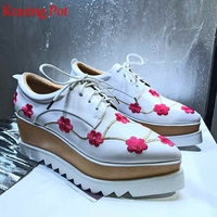 Krazing Pot new genuine leather pointed toe platform streetwear lace up thick bottom original design flower decoration shoes L18