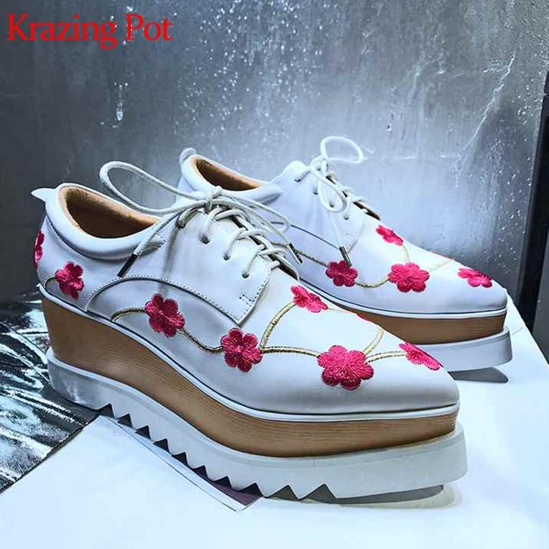 Décoration Florale blanc À Fond Pot Cuir Épais Plate Chaussures Noir Bout forme Conception Streetwear Originale Lacets L18 Nouveau Véritable Krazing Pointu BqRWaZpzp