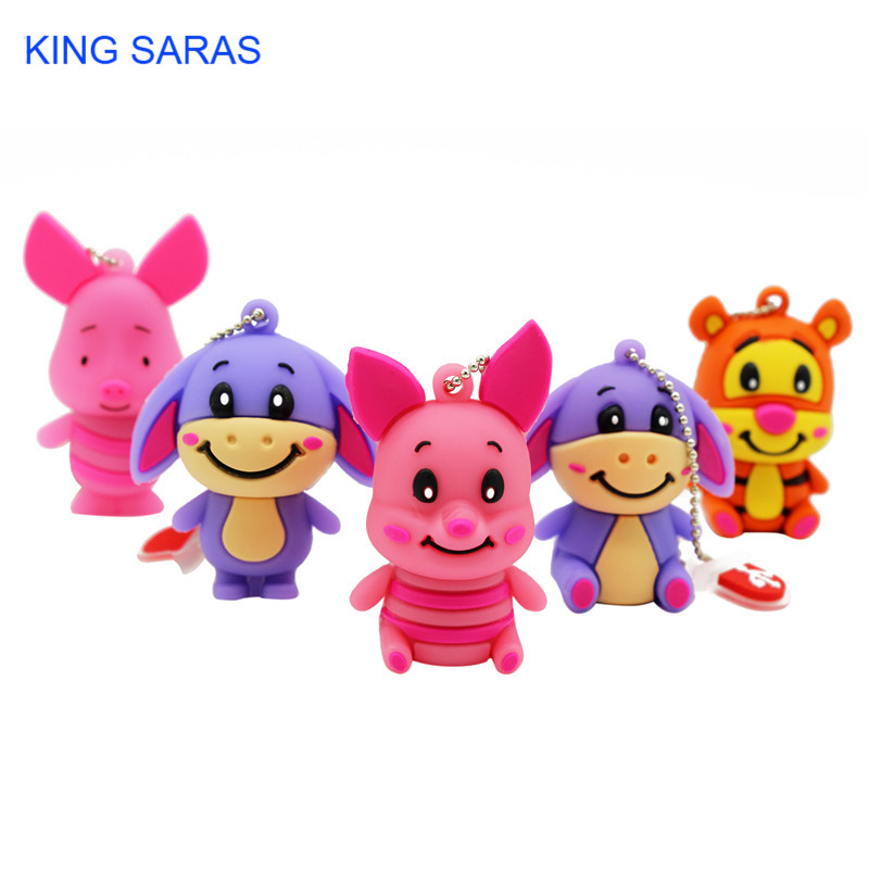KING SARAS 5 Model 64GB  4GB 8GB 16GB 32GB Cute Mini Pig Cub Tiger Model Usb Flash Drive Usb 2.0  Pendrive